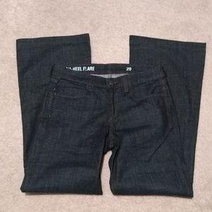 High heel flare jeans.